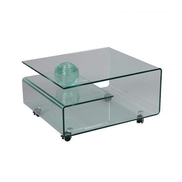 Dansmamaison Table basse sur roulettes Verre - Nacle - L 80 x l 70 x H 40 cm