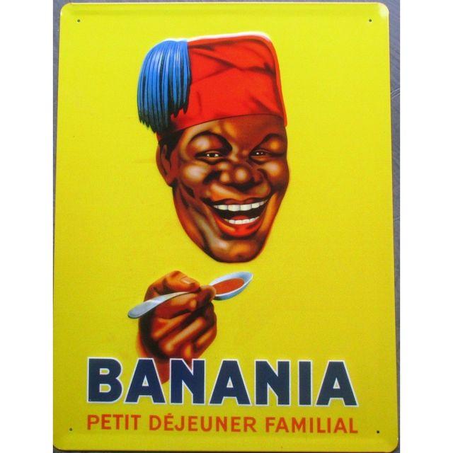 Universel Plaque banania tirailleur tole bombée deco cuisine bar loft