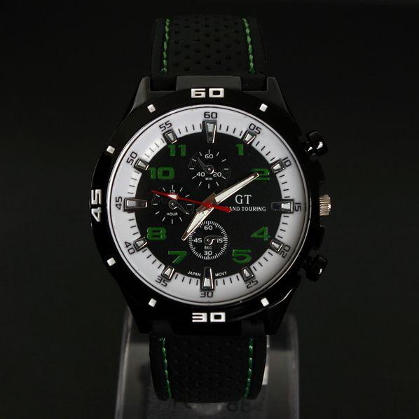 9e0b80fdb8249 Chic And Watch - Montre Homme noire et verte Quartz Analogique bracelet  Silicone Gt Grand Touring