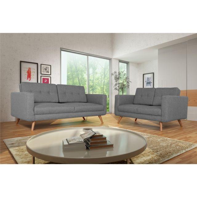 Rocambolesk Canapé Hedvig 3+2 savana gris 21 pieds naturels sofa divan