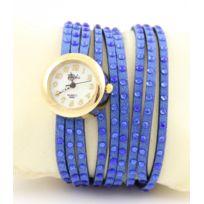 Yilisha - Montre Femme Bracelet Cuir Bleu Strass 558
