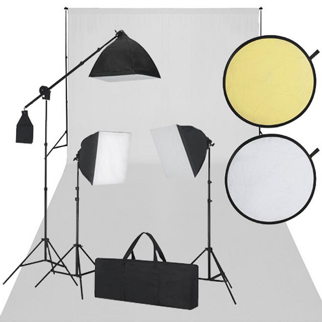 Vidaxl Kit Studio Fond Blanc Eclairage Pas Cher Achat Vente