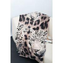 12e0801a432c No Name - Couverture - Edredon - Plaid Plaid J microfibre grand luxe  150x200 cm léopard blanc
