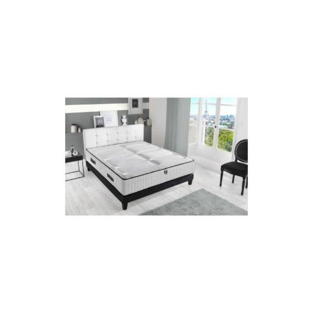 Confort Design Ensemble Matelas + Sommier 160x200 - Mousse Haute Resilience Bi-confort - 30 Cm - Ferme Et Equilibre - Hotel Luxe