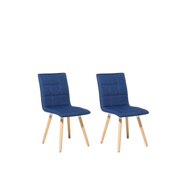 Lot de 2 chaises en tissu bleu marine BROOKLYN bleu foncé