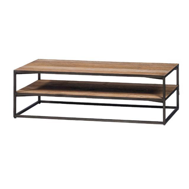 HELLIN Table basse 2 niveaux en teck et métal noir - X-TRA