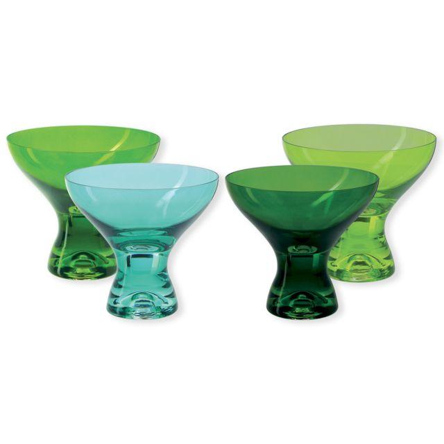 Bruno Evrard Coupes à glace en verre vert 33cl - Lot de 4