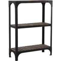 AUBRY GASPARD - Étagère 3 niveaux en bois et métal Loft