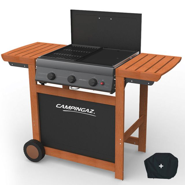 campingaz barbecue a gaz grill et plancha adelaide 3 woody l piezo 14 kw duo grill plancha. Black Bedroom Furniture Sets. Home Design Ideas