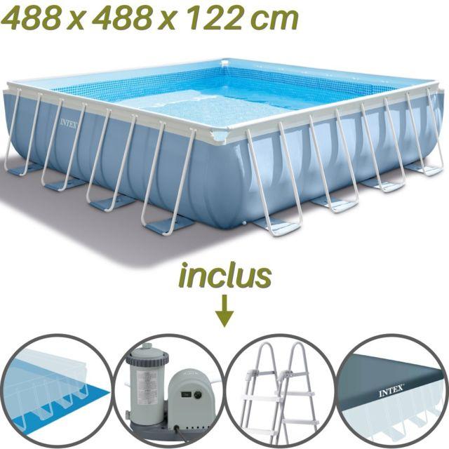 Intex piscine tubulaire carr e prism frame 488 x 488 x - Piscine tubulaire carree ...