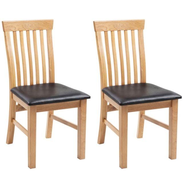 Chaises à dîner 2 pcs Bois de chêne massif et similicuir
