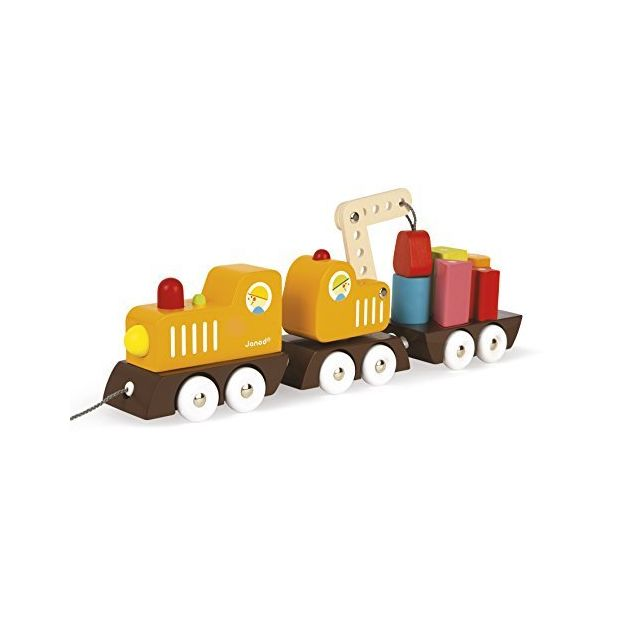 Janod Multi Color Crane Train with Blocks
