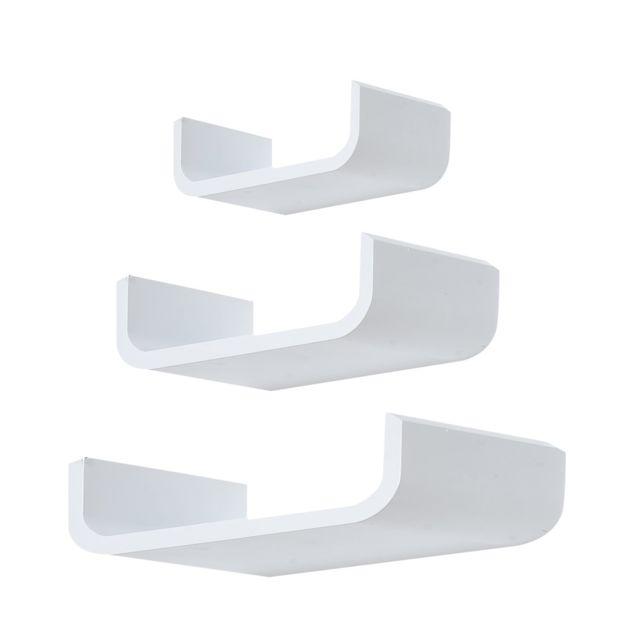 HOMCOM Lot de 3 étagères murales flottantes design contemporain courbé kit fixation inclus MDF blanc