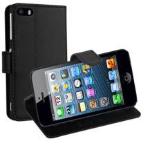 Vcomp - Housse Coque Etui portefeuille Support Video Livre rabat cuir Pu pour Apple iPhone 5/ 5S/ Se - Noir