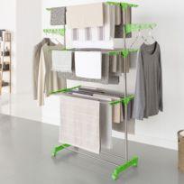 Idmarket - Séchoir à linge inox Maxima vert étendoir pliable