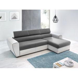 bobochic canap d 39 angle convertible simili avec coffre droit blanc gris 4 places dear achat. Black Bedroom Furniture Sets. Home Design Ideas