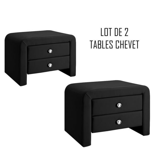 Meubler Design Table chevet design noir Eva x2