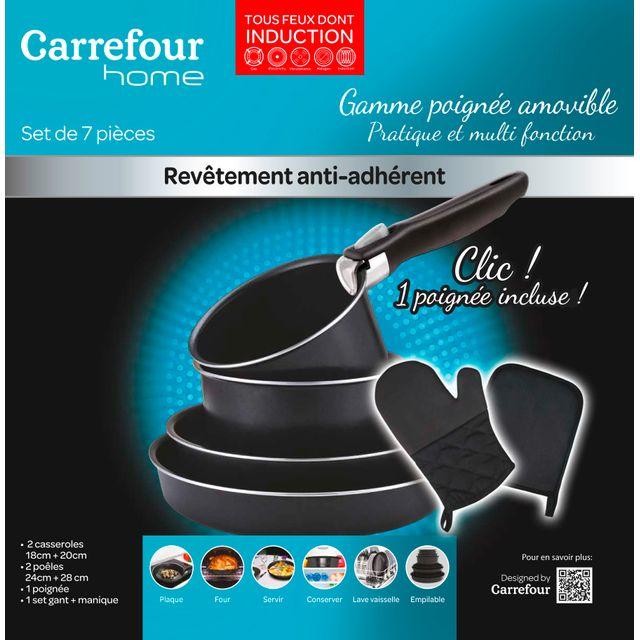 CARREFOUR HOME - Batterie de cuisine - 7 pièces - Aluminium