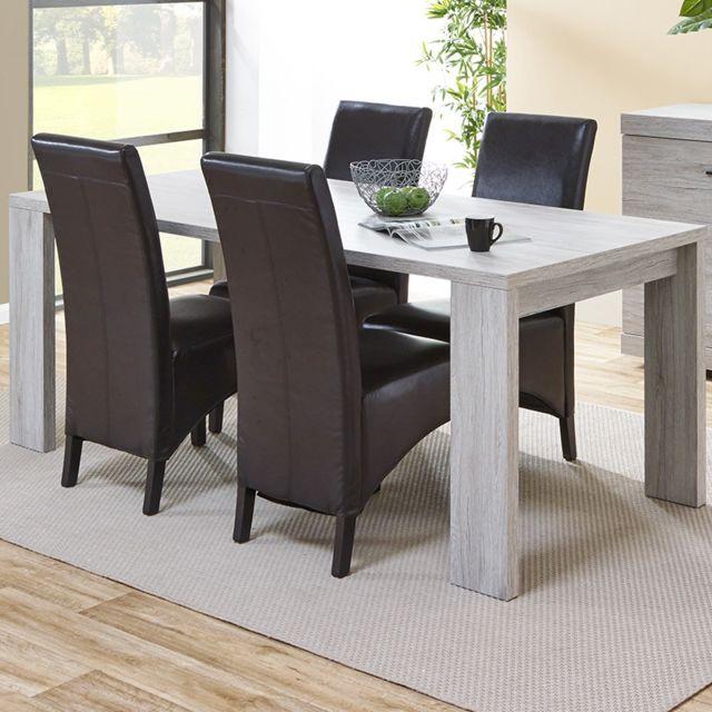 Sofamobili Table contemporaine couleur chêne gris Jade - Sans rallonge
