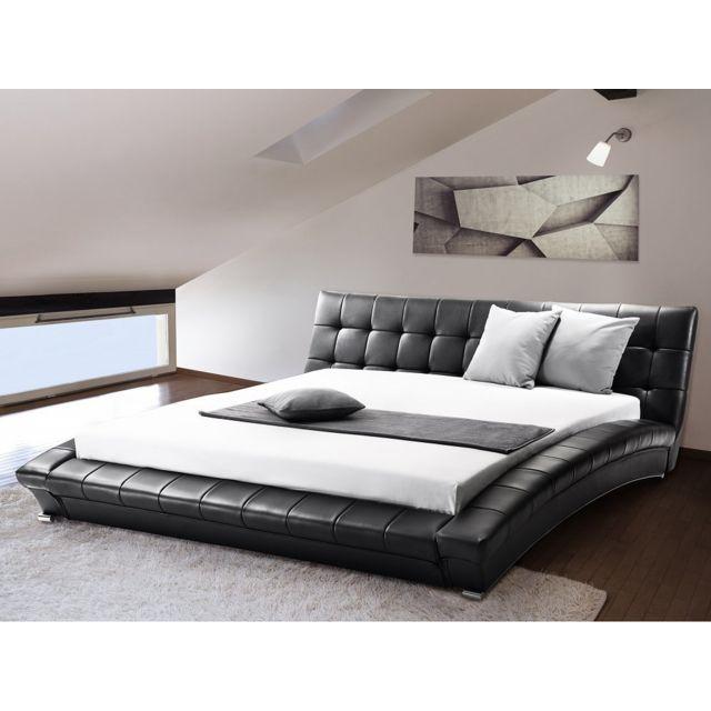 Beliani Lit design en cuir - lit double 160x200 cm - noir - sommier inclus - Lille