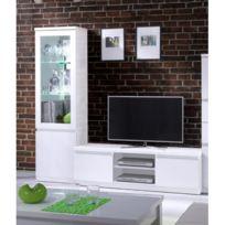 9887566dcd0149 Price Factory - Ensemble pour votre salon Fabio. Meuble tv hifi + vitrine  petit modèle