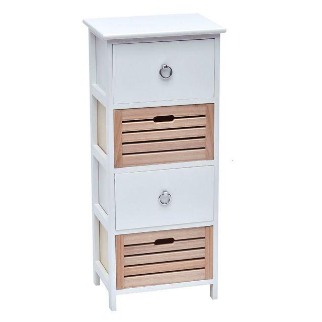 11 sur tendance meuble 4 tiroirs blanc et naturel vendu par rueducommerce 10780914. Black Bedroom Furniture Sets. Home Design Ideas