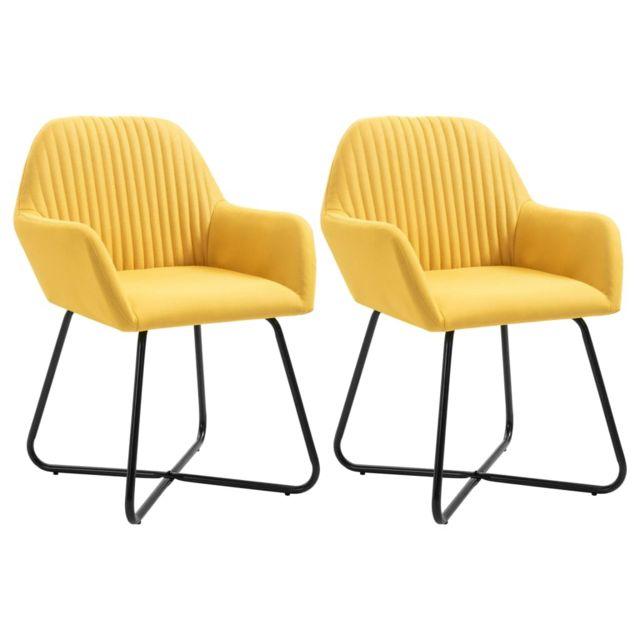 Contemporain Fauteuils et chaises reference Victoria Chaises de salle à manger 2 pcs Jaune Tissu