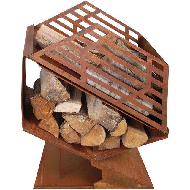 FANCY FLAMES Chauffe-terrasse en fonte avec stockage de bois