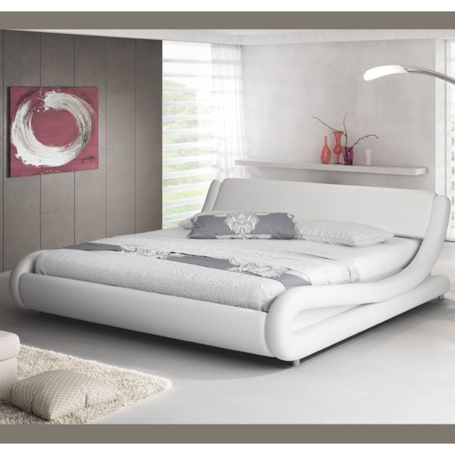 Design Ameublement Lit double Alessia – blanc 160x190cm