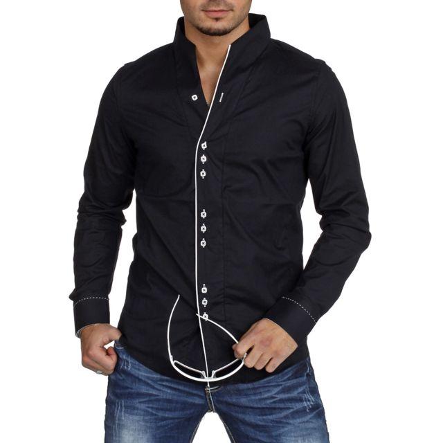 carisma chemise casual homme col mao noire pas cher achat vente chemise homme rueducommerce. Black Bedroom Furniture Sets. Home Design Ideas
