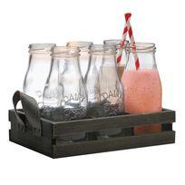 Eddingtons - 6 bouteilles de lait avec pailles sur plateau en bois avec anses