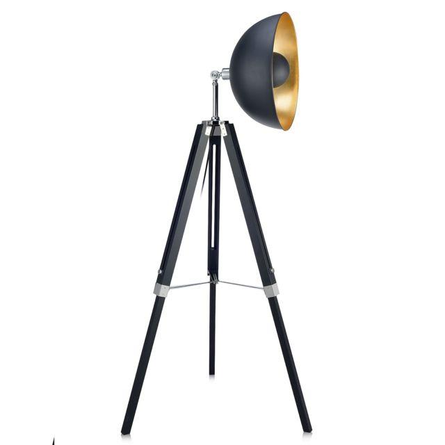 VERSANORA Fascino lampadaire métal rétro projecteur lampe de sol noir dorée