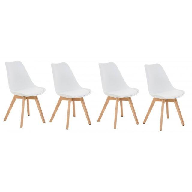 Autre Lot de 4 chaises de salle à manger scandinave simili-cuir blanc pieds bois Cds10101