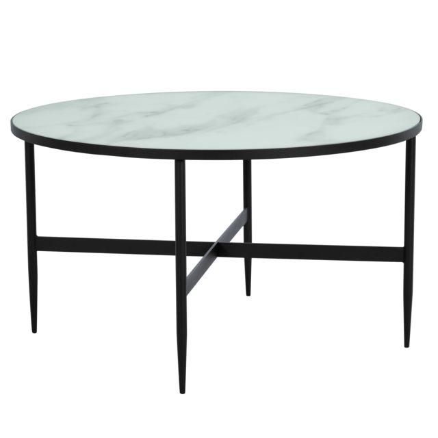 Effet Verre 80 Cm Marbre Et Ronde En Metal Alaska Noir Table Basse L54qc3ARj