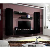 Asm-mdlt - nsemble meuble Tv mural Fly-a noir de haute brillance