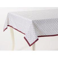 Amadeus - Nappe 100% coton motif rosace effet grillage blanc brodure bordeaux Academiq - 150x150cm