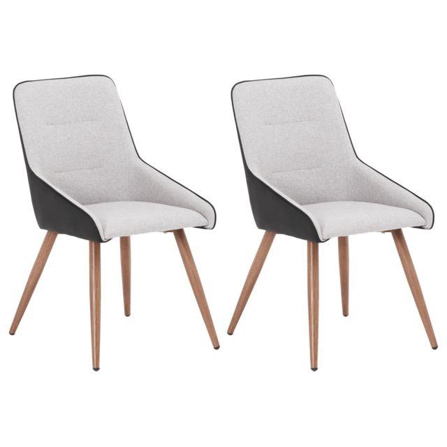 Lot de 2 chaises LUGO en tissu gris pour salle à manger ou cuisine, fauteuils au design retro avec 4 pieds en métal imitation bois