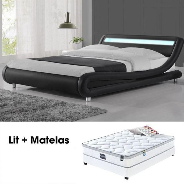 MEUBLER DESIGN Lit led design Julio Noir 160cm avec Matelas Romance