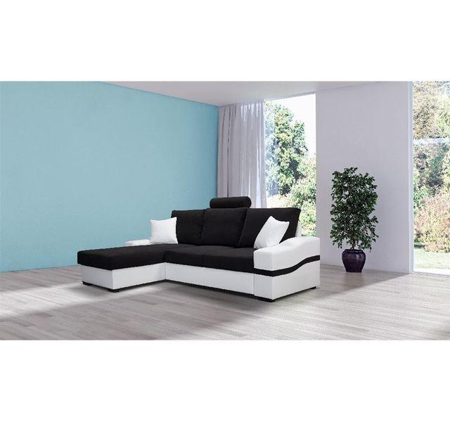 CHLOE DESIGN - Canapé d\'angle convertible Dylan - tissu - noir et ...