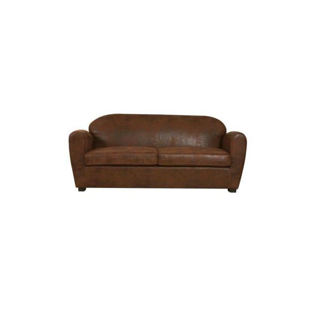 Sans Marque Corona Canape Club Convertible 2,5 Places - Tissu Marron Aspect Vieilli - Vintage - L 185 X P 90 Cm