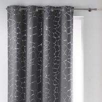 Rideau a oeillets occultant imprime Sahel 140x260 cm gris et argente