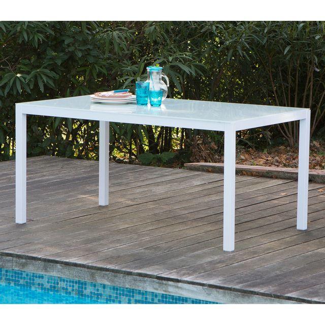 Les Essentiels By Dlm - Table de jardin aluminium/verre 150x90x72 cm ...