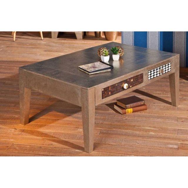Inside 75 Table basse Noida métallisée 2 tiroirs