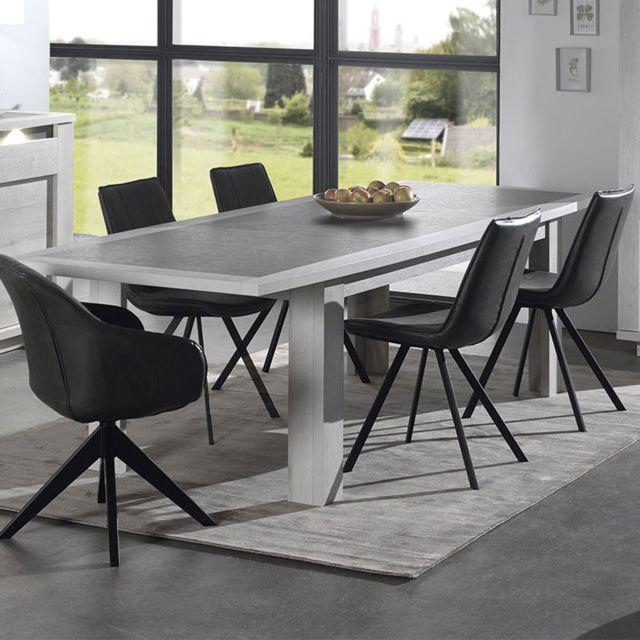 Nouvomeuble Table extensible moderne couleur chêne blanc et gris Childeric