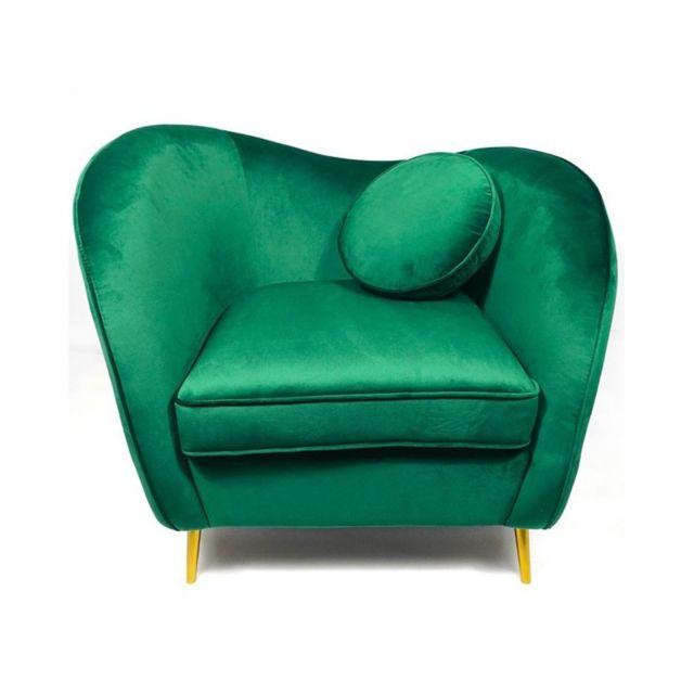 Meubler Design Legend Fauteuil Velours pieds Métal Or - Vert