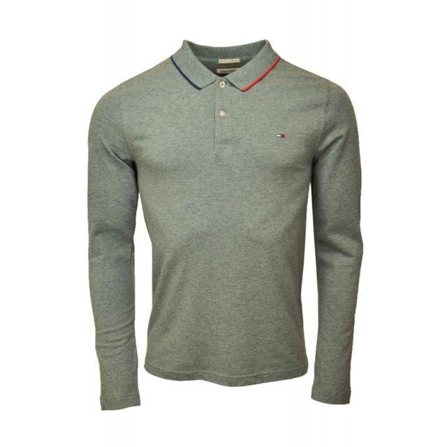 e865325f024 Tommy Hilfiger - Polo manches longues Paddy gris pour homme - pas ...