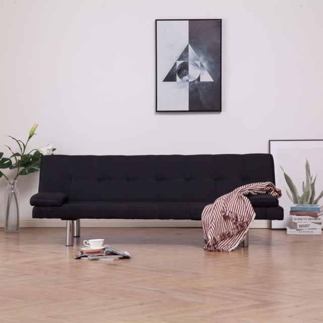 sublime Meubles collection Nuku?alofa Canapé-lit avec deux oreillers Noir Polyester