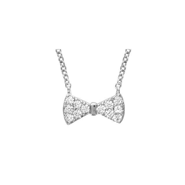 1001BIJOUX Collier argent rhodié noeud papillon oxydes blancs