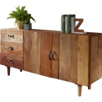829f72caeb17d Buffet bahut rustique vintage en bois massif avec 3 tiroirs et 2 portes  138x40x68 cm collection C-Martinek