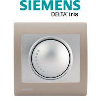 Siemens - Va et Vient Variateur 500W Silver Delta Iris + Plaque Soft Taupe